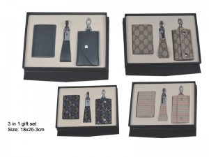 3 in 1 business gift set, namecard holder, keyring and key pouch