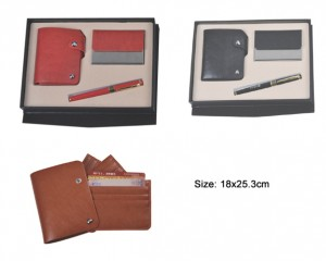 3 in 1 leather business gift set with leather name card pouch, name card holder and pen