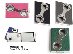 PU Leather Stainless Steel Business Name Card Holder