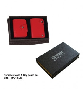 PU namecard case and Key pouch set