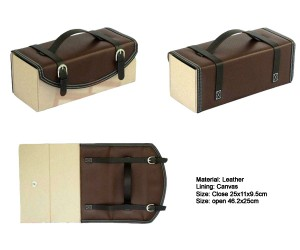 attractive stylish foldable PU leather wine box