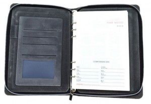 leather cover zipper notebook,planner, leather organizer planner agenda notebook